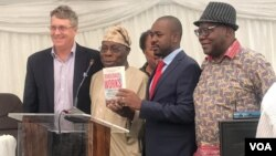 Greg Mills, Obasanjo, Nelson Chamisa and Tendai Biti at the book launch in Harare, March 28, 2019