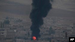 Airstrikes on Kobani, Syria - Sunday, October 19, 2014