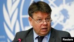 페테리타알라스세계기상기구 사무총장이 24일 스위스 제네바 유엔 본부에서 열린 연례 이산화탄소 보고 회의에서 기자회견을 하고 있다.