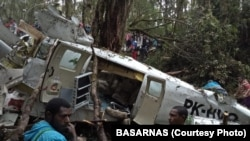 Pesawat perintis yang jatuh di Oksibil, Pegunungan Bintang, Papua, hari Sabtu (11/8).