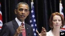 Presidente americano Barack Obama durante uma conferência de imprensa conjunta com a primeira-ministra da Austrália, Julia Gillard