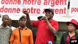 Pascal Affi N'Guessan, dirigeant du Front populaire ivoirien, parle pendant une manifestation à Abidjan, le 17 juin 2017.
