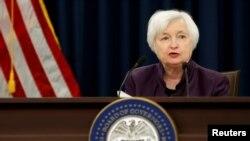 Chủ tịch Fed Janet Yellen chủ trì một cuộc họp báo ở Washington, 21/9/2016.