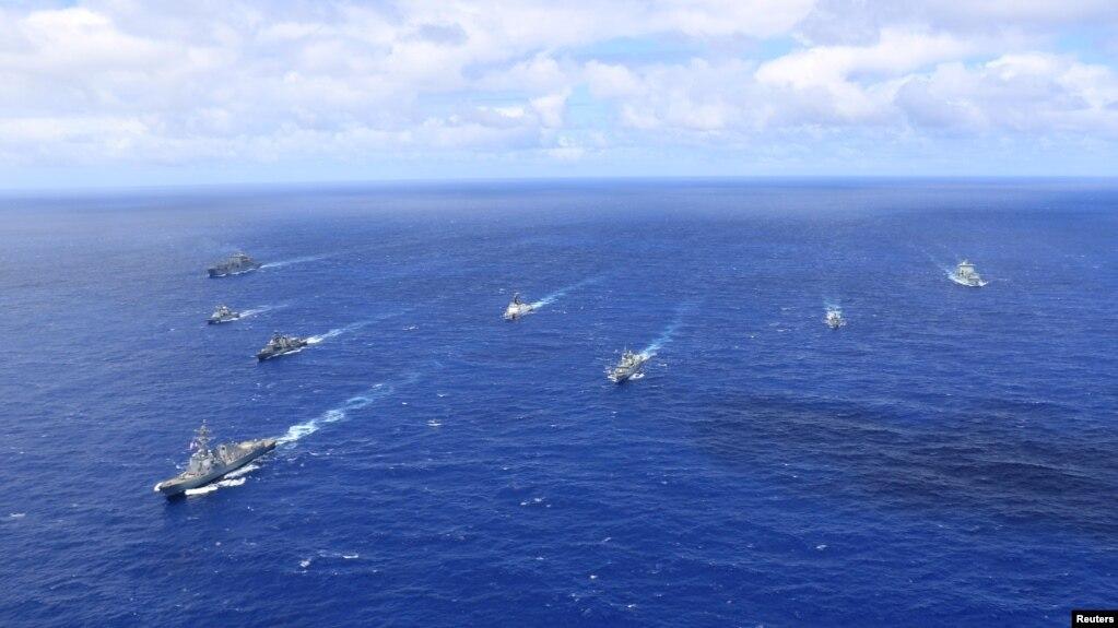 來自美國、智利、秘魯、法國和加拿大的海軍艦艇參加2018年的軍演