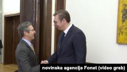 Izvršni potpredsednik Atlantskog saveta Dejmon Vilson sa predsednikom Srbije Aleksandrom Vučićem