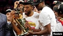 Les Toronto Raptors, champion NBA 2019, à Oakland, Californie le 13 juin 2019.