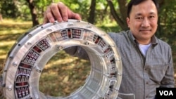 Roberto Catalan, inventor and CEO of Focused Magnetics says his new electric motor can beat your electric motor. (M. Arcega/VOA)