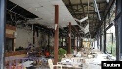 Restaurant, où un kamikaze a déclenché sa ceinture explosive, quartier de Raboué, Damas, Syrie, le 15 mars 2017.