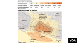 A map showing the areas affected by the earthquake in Nepal.