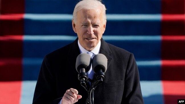 Ông Joe Biden đọc diễn văn sau khi tuyên thệ nhậm chức, 20/1/2021