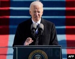 លោក Joe Biden ថ្លែងសុន្ទរកថា បន្ទាប់ពីស្បថចូលកាន់តំណែងជាប្រធានាធិបតីទី ៤៦ របស់សហរដ្ឋអាមេរិកនៅវិមានសភា រដ្ឋធានីវ៉ាស៊ីនតោន ថ្ងៃទី២០ ខែមករា ឆ្នាំ២០២១។