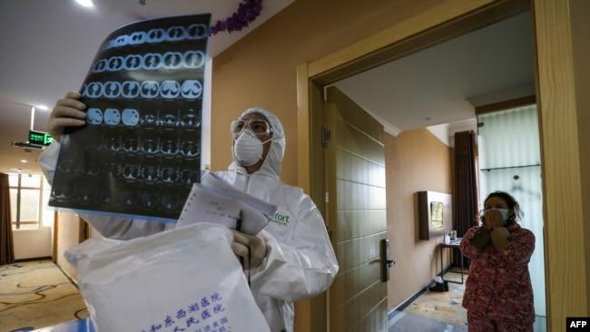 Hubei eyaletinde karantina altında bir hastane katı