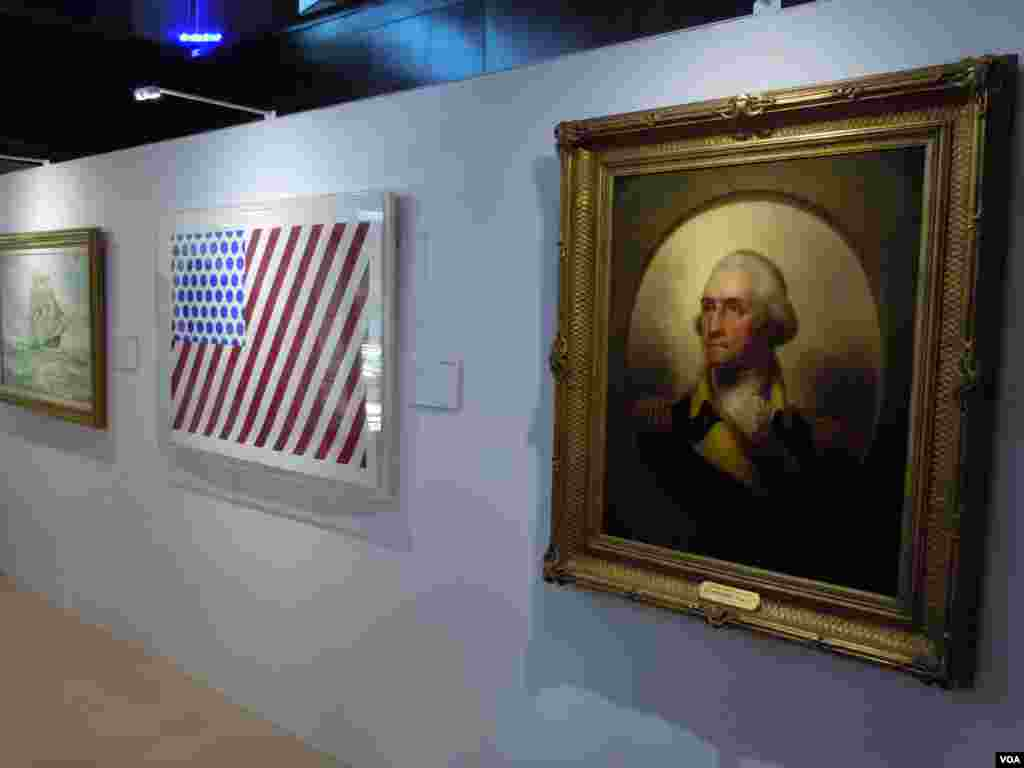 "A portrait of George Washington, painted by Rembrandt Peale in 1859, next to Roy Lichtenstein's ""Forms in Space,"" from 1985. (VOA/J. Taboh)"