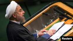 Iranian President Hassan Rouhani addresses the 69th United Nations General Assembly at the United Nations Headquarters in New York, Sept. 25, 2014.