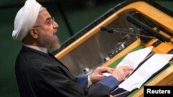 Presiden Iran Hassan Rouhani memberikan pidato pada Sidang Umum PBB di New York, Kamis (25/9).