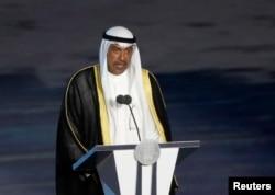 Sheikh Ahmad Al Fahad Al Sabah, presiden Olympic Council of Asia, memberikan sambutan pada upacara pembukaan Asian Games 2018 di Stadion Utama GBK, Jakarta, 18 Agustus 2018.