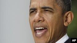 奧巴馬在白宮玫瑰園發表講話。