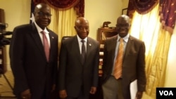 Vice President Joseph Boakai with Liberian Ambassador to the United States Jeremiah Sulunteh and VOA's James Butty.