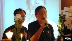 香港支聯會主席李卓人(手持麥克風者)
