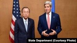 美國國務卿克里和聯合國秘書長潘基文7月24日在開羅