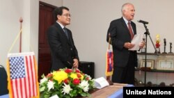 U.S. Ambassador to Laos Daniel A. Clune and Phoukhieo Chanthasomboune, Director of the National Regulatory Authority (NRA) announce increased U.S. funding to help clear unexploded ordinance in Laos.