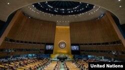 ကုလသမဂၢ ႏွစ္ပတ္လည္ အေထြေထြညီလာခံ က်င္းပေနတဲ့ျမင္ကြင္း။ (စက္တင္ဘာ ၂၀၂၀၊ ဓာတ္ပုံ - United Nations)