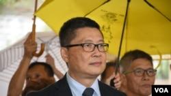 和平佔中三名發起人陳健民。香港佔中9人案審結,明年4月9日裁決。(美國之音湯惠芸)