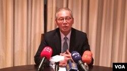 台灣駐美代表高碩泰2019年2月1日在華盛頓台灣駐美代表處對華文傳媒簡報。(美國之音鐘辰芳拍攝)