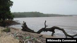 FILE - Plastic trash on the shoreline of cocoa beach in India.