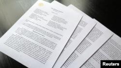 Pismo sekretara za pravosuđe Vilijama Bara upućeno članovima Kongresa, sa osnovnim zaključcima izveštaja specijalnog tužioca Roberta Malera