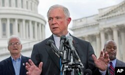 FILE - Sen. Jeff Sessions speaks at a news conference hosted by the Tea Party Patriots to oppose Senate immigration reform legislation on Capitol Hill in Washington, June 20, 2013.