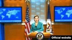 Juru bicara Departemen Luar Negeri Amerika, Victoria Nuland dalam sebuah jumpa pers di Washington, DC (21/2).
