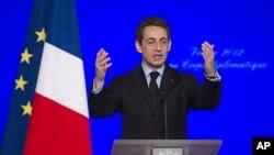 法國總統薩科齊星期五在巴黎發表講話