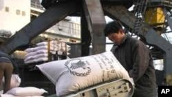世界糧食計劃署運送大米到北韓