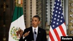 美國總統奧巴馬訪問墨西哥﹐5月2日在新聞發佈會上講話