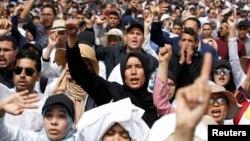 Des enseignants manifestent pour de meilleures conditions de travail à Rabat, au Maroc, le 24 mars 2019.