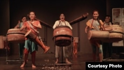 "Cambodia's first all-female drum troupe ""Medha"" first performance was in Siem Reap in 2018. (Courtesy: Where the Roots Lie)"