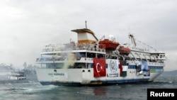 """2010-yil may oyida G'azo Sektori yaqinida Isroil hujumiga uchragan """"Moviy Marmara"""" turk kemasi"""