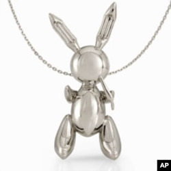 Platinum bunny on a chain by American artist Jeff Koons