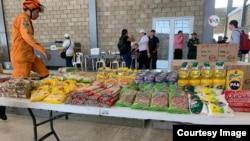 Así luce el centro de acopio en Cúcuta, Colombia para llevar ayuda humanitaria a Venezuela. [Foto: Cristina Caicedo y Celia Mendoza, VOA].