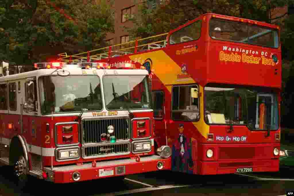 Пожарная машина и экскурсионный автобус почти не отличаются размерами