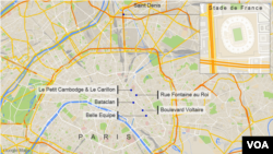 Sites of the November attacks in Paris