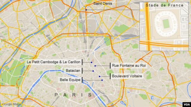Sites of the November attacks in Paris
