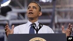 President Barack Obama speaks at Washington-Lee High School in Arlington, Virginia, May 4, 2012.