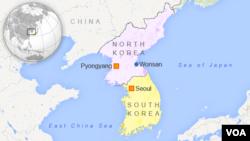 Zona larangan berlayar Korea Utara mencakup area dekat kota Wonsan di pesisir timur.