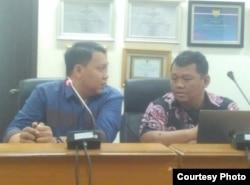 Muhammad Arsyad dan Koordinator SafeNet, Damar Juniarto saat berkunjung di Kantor Komnas HAM, Jakarta. (Foto: dok)