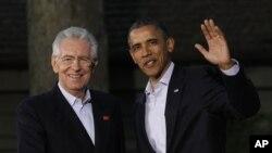 Shugaban Italiya Mario Monti da Shugaba Barack Obama na Amurka