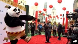 "Po, a character from ""Kung Fu Panda 3,"" arrives at the world premiere at the TCL Chinese Theatre on Saturday, Jan. 16, 2016."