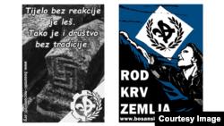 Plakati BPNP-a sa simbolima bijelog supremacizma. Foto: BPNP, ilustracija