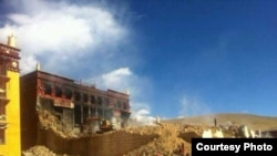 Lithang monastery's Prayer Hall Gutted in Fire